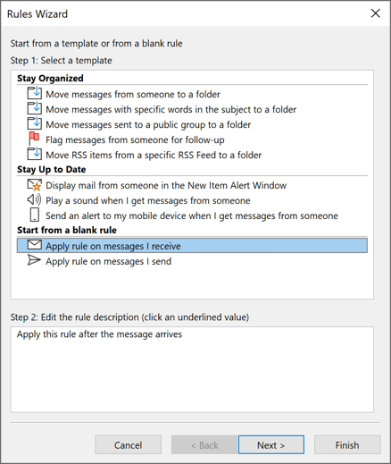 Rules Wizard Step 1 in Outlook 365