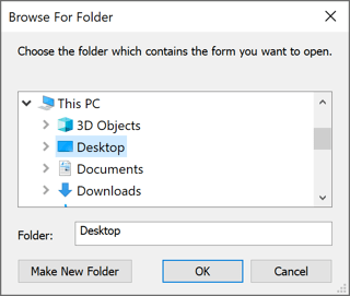 Browse For Folder in Outlook 365