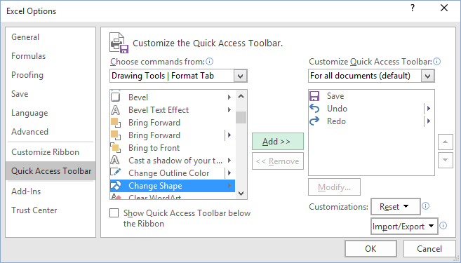 Quick Access Excel 2016