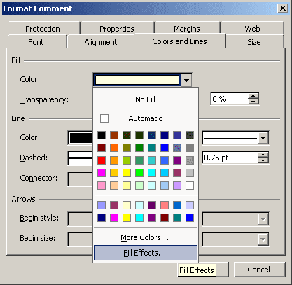 Comment color in Excel 2003
