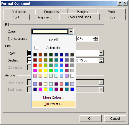 Comment color in Excel 2007