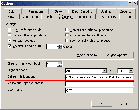 Start Up Location in Excel 2003