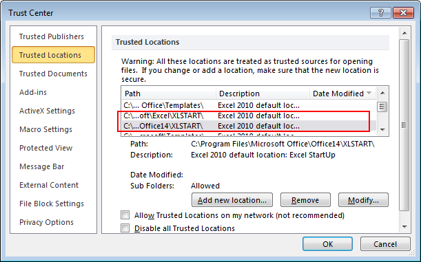 Trast Center Locations in Excel 2010