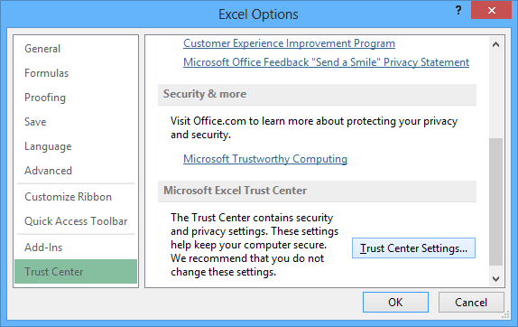 Trast Center in Excel 2013 Options