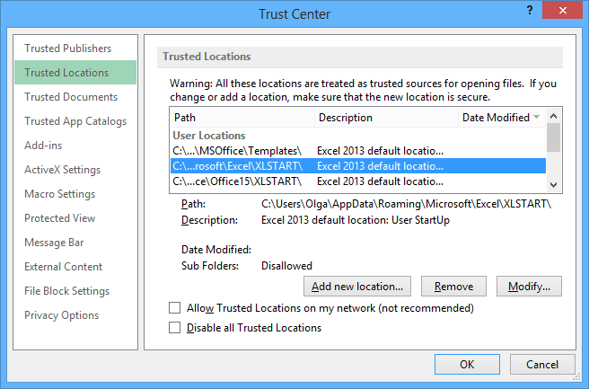 Trast Center Locations in Excel 2013