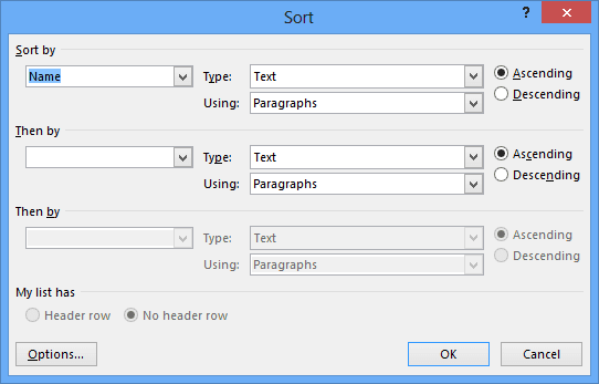 Sort table in Word 2013