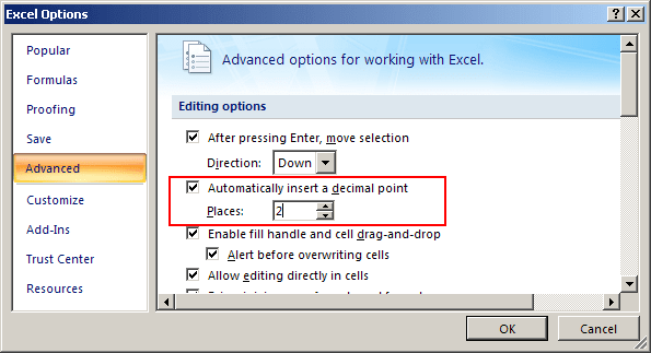 Excel 2007 decimal point options