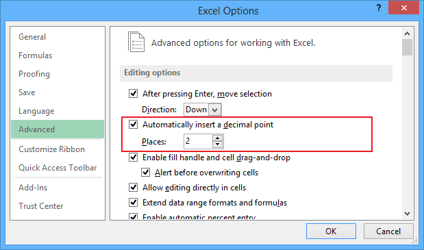 Excel 2013 decimal point options