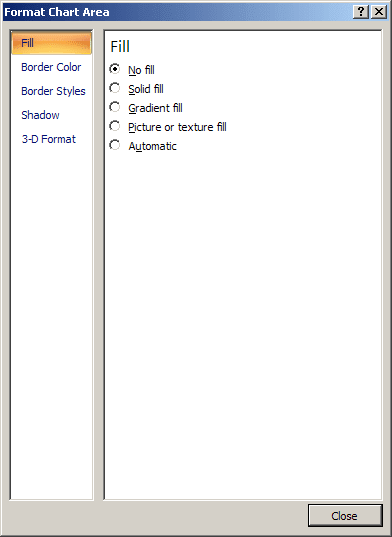 Format chart area in Word 2007