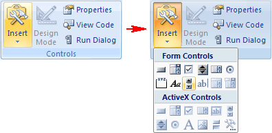 Controls group in Excel 2007