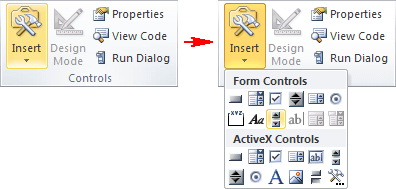 Controls group in Excel 2010