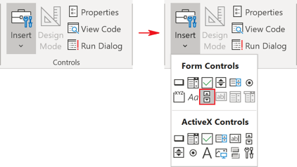 Controls group in Excel 365