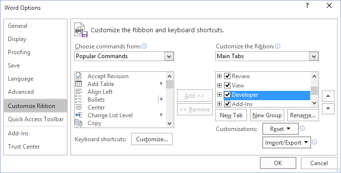 Customize Ribbon in Word 2016