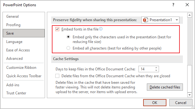 Embed fonts in PowerPoint 365
