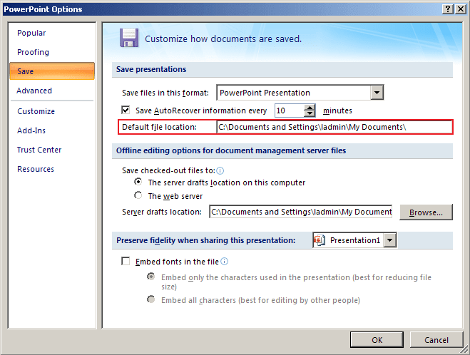 Autosaving path in PowerPoint 2007