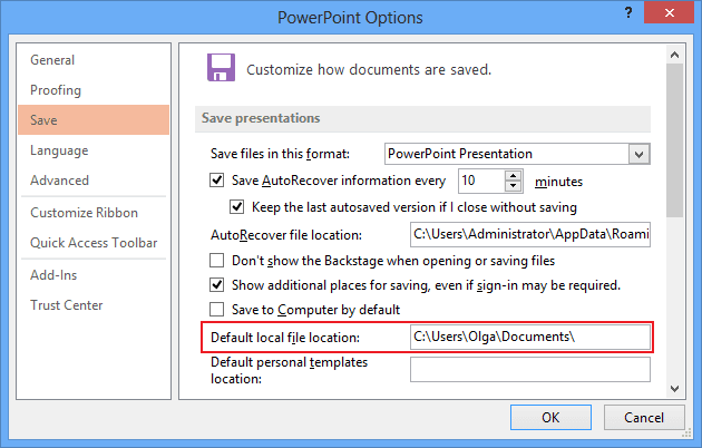 Powerpoint 2013 default personal templates location choice for Powerpoint 2013 template location