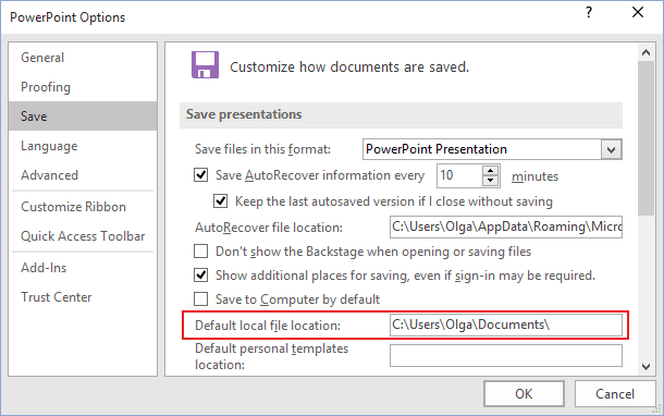 Autosaving path in PowerPoint 2016
