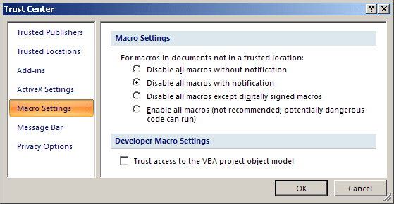 Trust Center dialog box in PowerPoint 2007