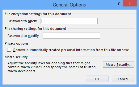 General Options dialog box in PowerPoint 2013