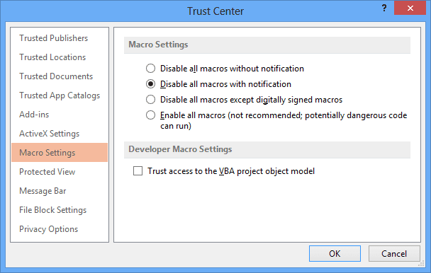 Trust Center dialog box in PowerPoint 2013
