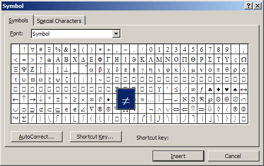 symbol in Word 2003