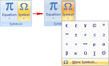 Insert Symbols in Word 2007
