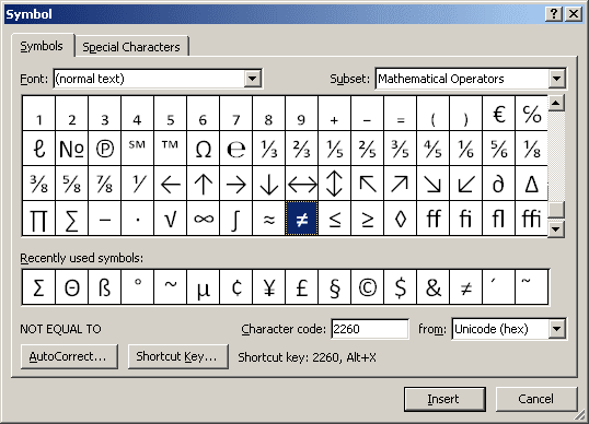 how to add mathematics symbols in word