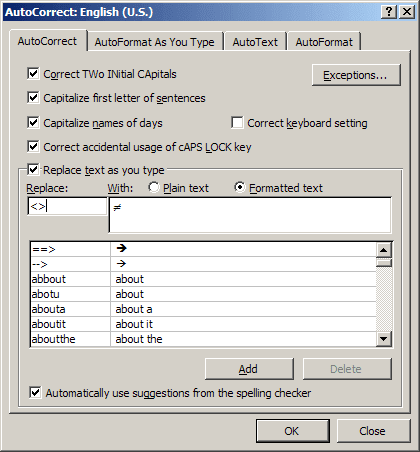 AutoCorrect in Word 2007