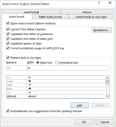 AutoCorrect in Word 2016