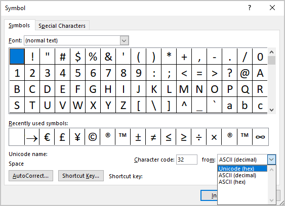 Select Unicode (hex) in Word 365