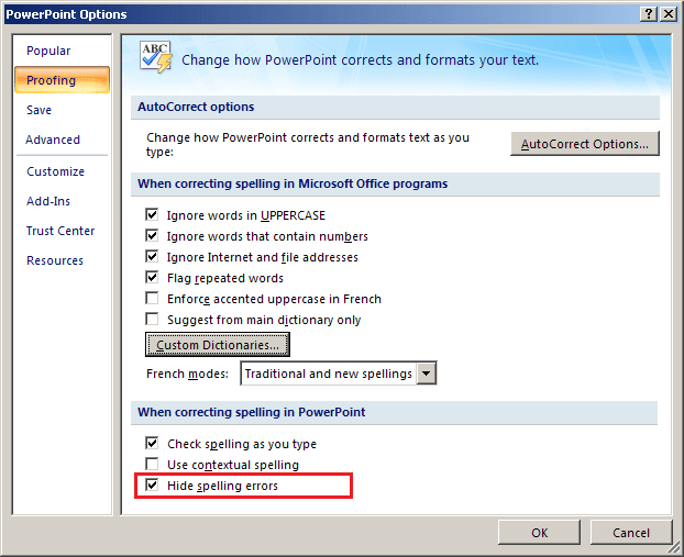 Proofing options in PowerPoint 2007