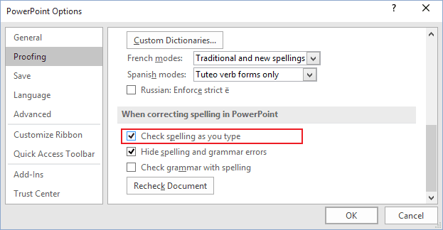 Proofing options in PowerPoint 2016