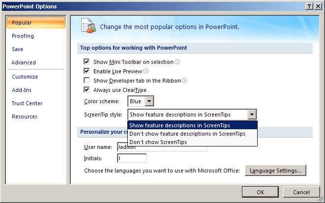General PowerPoint 2007 options