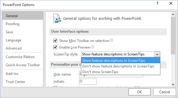 General PowerPoint 2016 options