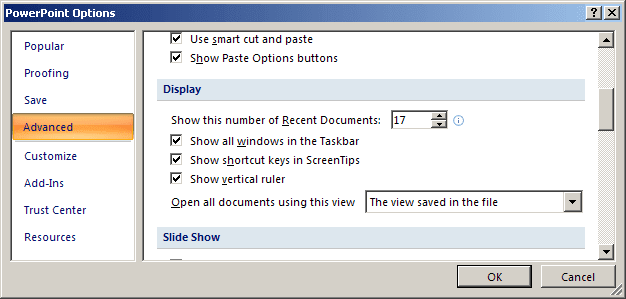 Advanced PowerPoint 2007 Options