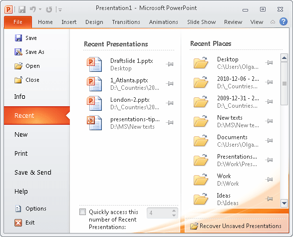File Recent presentations in PowerPoint 2010