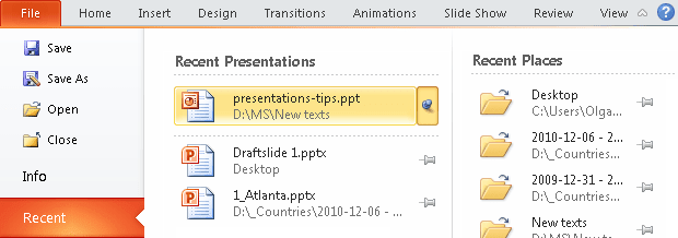Pin the presentation in PowerPoint 2010