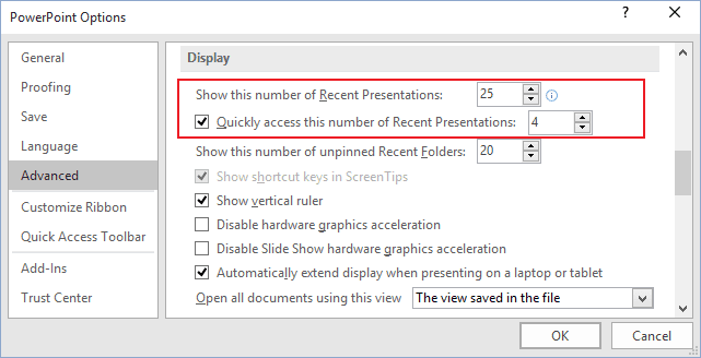Advanced PowerPoint 2016 Options