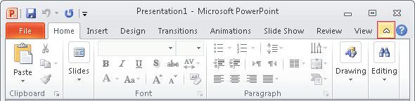 Minimize Ribbon button PowerPoint 2010