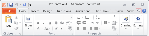 Expand Minimized Ribbon button PowerPoint 2010