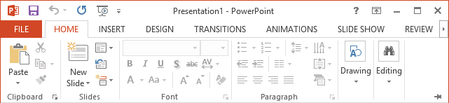 Display Minimized Ribbon PowerPoint 2013