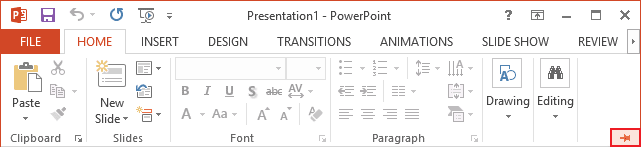 Expand Minimized Ribbon button PowerPoint 2013