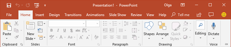 Display Minimized Ribbon PowerPoint 2016