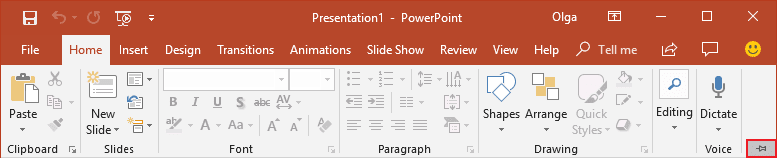 Expand Minimized Ribbon button PowerPoint 2016