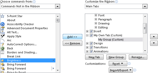 Add command in the group in PowerPoint 2010