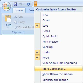 Quick Access PowerPoint 2007