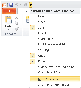 Quick Access PowerPoint 2010