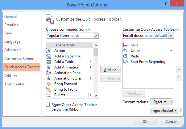 PowerPoint 2013 Options