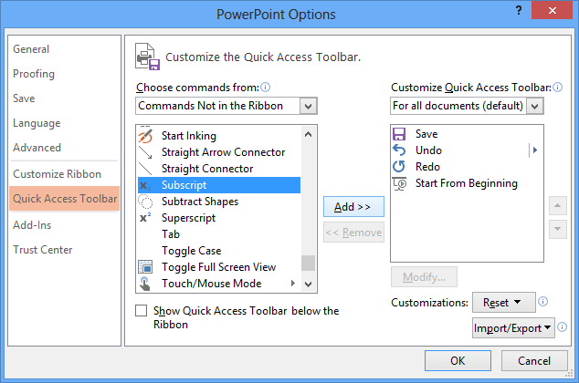 Add new command to the Quick Access PowerPoint 2013