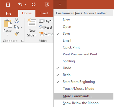 Quick Access PowerPoint 2016